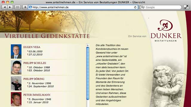 Bestattungen Dunker virtuelle Gedenkstätte