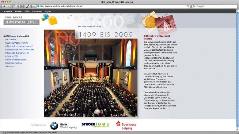 600 Jahre Uni Leipzig Website