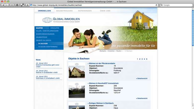 Global Immobilien Website
