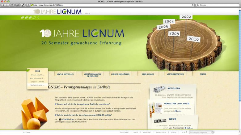LIGNUM Jubiläums-Website
